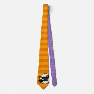 FUNNY HALLOWEEN BAT STRIPED TRICK OR TREAT TIE
