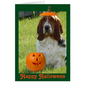 Funny Halloween Card w/Cute Basset Hound & Pumpkin