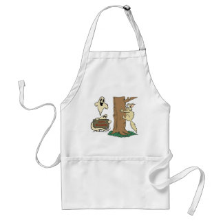 Funny Halloween Cat and Ghost Apron