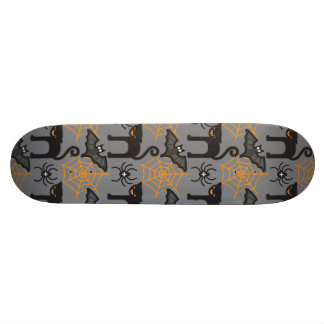 Funny Halloween Cat and Web Pattern Custom Skateboard