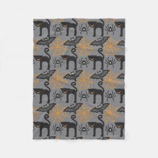 Funny Halloween Cat and Web Pattern Fleece Blanket