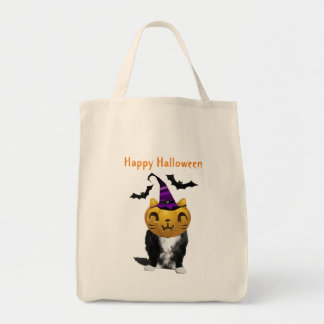 Funny Halloween Cat Grocery Tote Bag