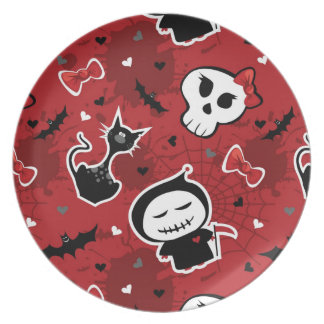 Funny Halloween Characters Pattern Party Plate