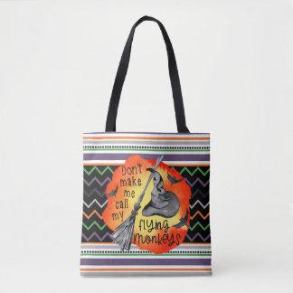 Funny Halloween Flying Monkeys, Chevron & Stripes Tote Bag