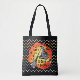 Funny Halloween Flying Monkeys, Chevron Tote Bag
