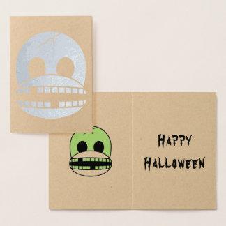 Funny Halloween Green Monster Sock Monkey Card