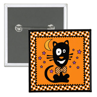 Funny Halloween Kitty Button Squ