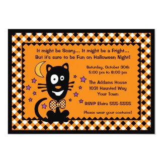 """Funny Halloween Kitty Invitation 5"""" X 7"""" Invitation Card"""
