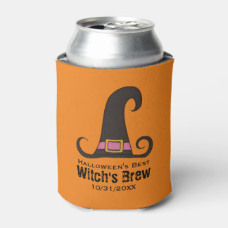 Funny Halloween Party Witch's Brew Beer Can Cooler