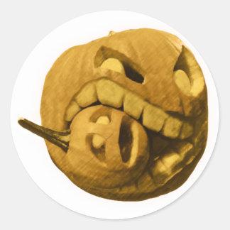Funny Halloween Pumkin Head (Vintage Version) Classic Round Sticker