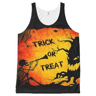 Funny Halloween Skeleton Tree Trick or Treat All-Over Print Singlet