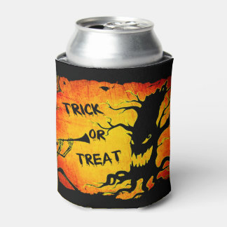Funny Halloween Skeleton Tree Trick or Treat Can Cooler