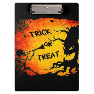 Funny Halloween Skeleton Tree Trick or Treat Clipboard