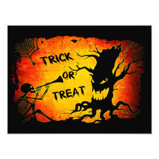 Funny Halloween Skeleton Tree Trick or Treat Photo Print