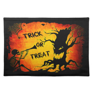 Funny Halloween Skeleton Tree Trick or Treat Placemat