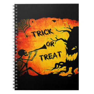 Funny Halloween Skeleton Tree Trick or Treat Spiral Notebook