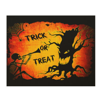 Funny Halloween Skeleton Tree Trick or Treat Wood Wall Art
