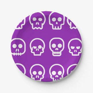 Funny Halloween Skulls Purple Paper Plate