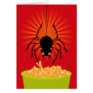 Funny Halloween Spider Stealing Candy Corn Card