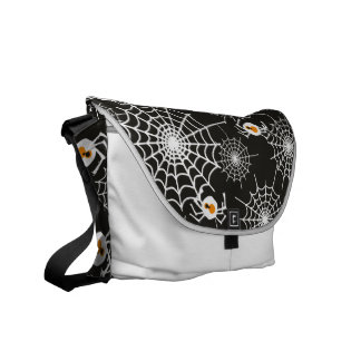 Funny Halloween Spiders and Webs Pattern Courier Bags