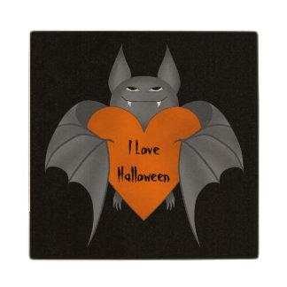 Funny Halloween Vampire bat and heart Maple Wood Coaster