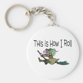 Funny Halloween Witch Basic Round Button Key Ring