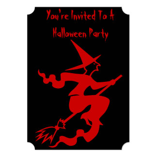 funny halloween witch on broomstick 13 cm x 18 cm invitation card