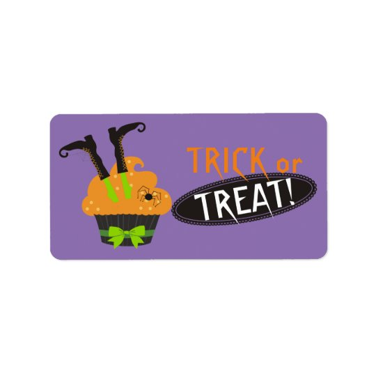Funny Halloween witch shoes stuck in cupcake Address Label