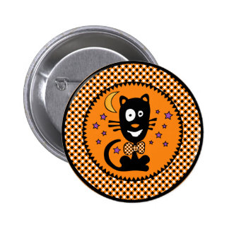Funny Hallowen Kitty Button Rnd