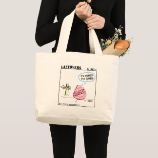 Funny Ham Cartoon Foodie Humor Reusable Grocery Large Tote Bag