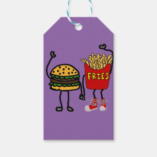 Funny Hamburger and French Fries Cartoon Art