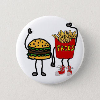 Funny Hamburger and French Fries Cartoon Art 6 Cm Round Badge