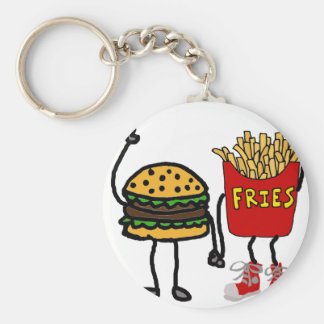 Funny Hamburger and French Fries Cartoon Art Basic Round Button Key Ring