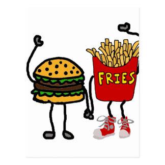 Funny Hamburger and French Fries Cartoon Art Postcard