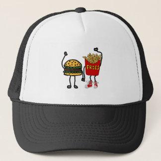 Funny Hamburger and French Fries Cartoon Art Trucker Hat