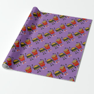 Funny Hamburger and French Fries Cartoon Art Wrapping Paper