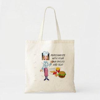 Funny Hamburger Cook, Tote Bag - Add Photo & Text
