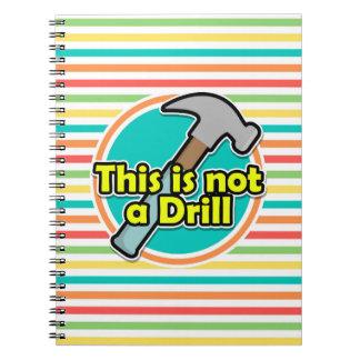Funny Hammer Bright Rainbow Stripes Spiral Notebook