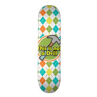 Funny Hammer on Colorful Argyle Pattern 21.6 Cm Old School Skateboard Deck
