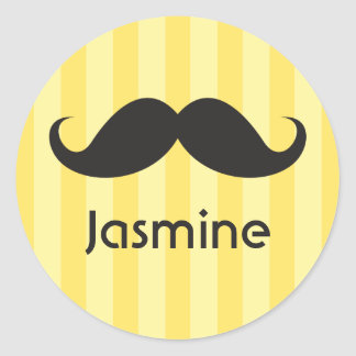 Funny handlebar mustache moustache yellow name classic round sticker