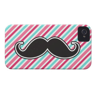 Funny handlebar mustache on pink aqua blue stripes iPhone 4 Case-Mate cases