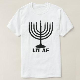 Funny Hanukkah Menorah Chanukah LIT AF Holiday T-Shirt