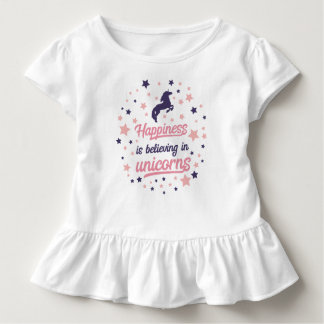 Funny Happiness is Believing in Unicorn Ruffle Tee