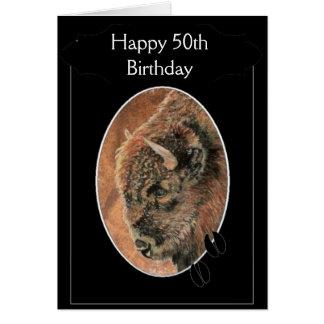 Funny Happy 50th Birthday  Bison, Buffalo Animals Card