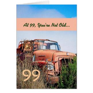 FUNNY Happy 99th Birthday Vintage Orange Truck 99C Note Card