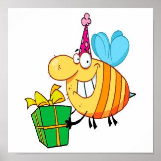 funny happy birthday bumble bee cartoon character poster