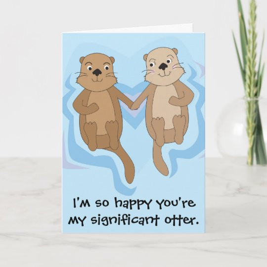 Funny Happy Birthday Card W Otters Holding Hands