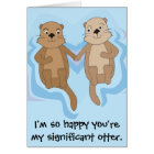 Funny Happy Birthday card w/ otters holding hands