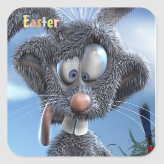 funny happy easter bunny square sticker