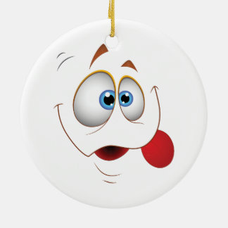 Funny Happy Face Blue Eyes Ceramic Ornament